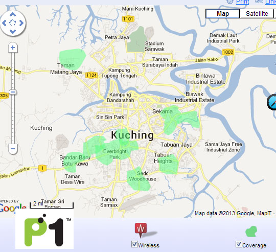 P1 Coverage in Kuching (as of July 2013)