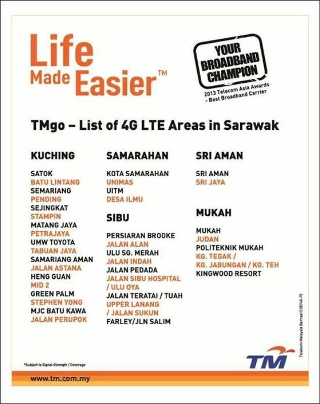 TMgo Sarawak Coverage Area